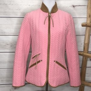 Escada Sport Quilted Pink Leather Zip Jacket Horse